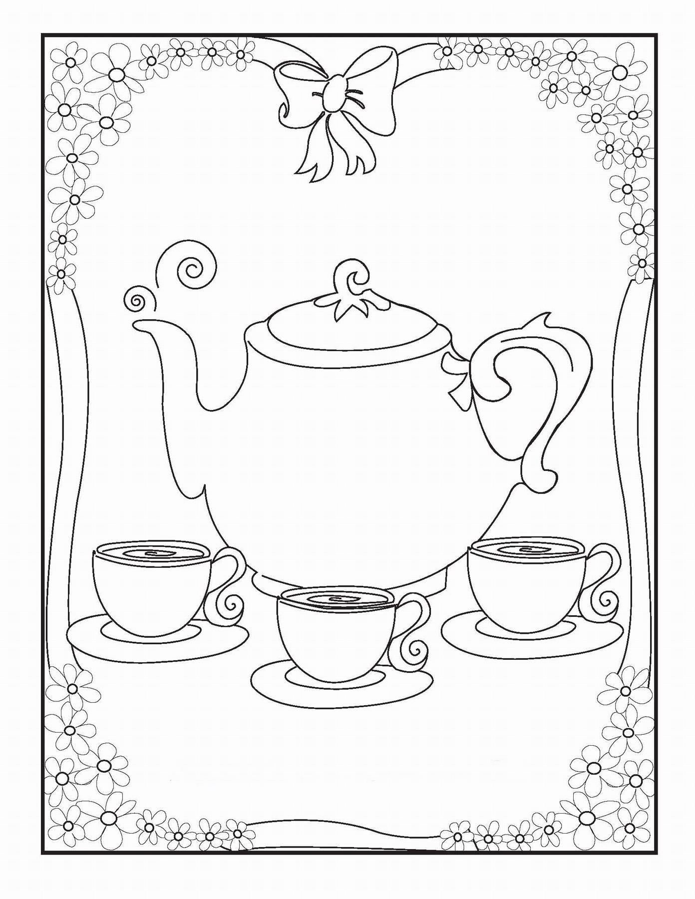 1392x1800 Tea Party Coloring Pages