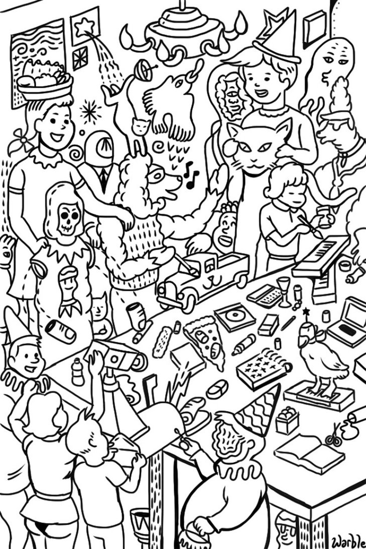 729x1095 Warble Art Party Coloring Page