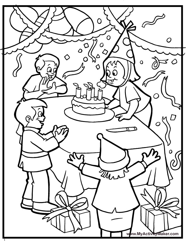 637x824 Birthday Party Coloring Pages Printable