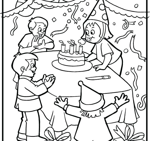 637x600 Birthday Party Colouring Pages Party Coloring Pages Birthday Cake