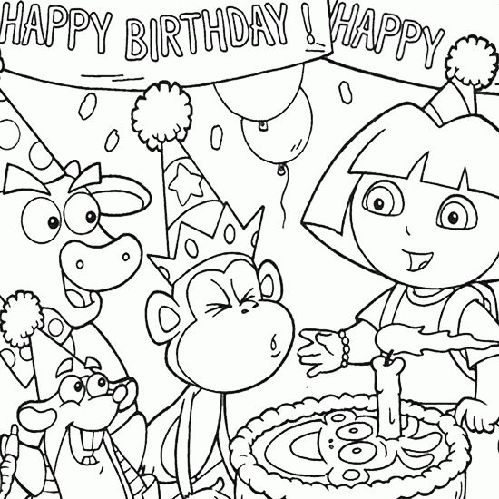 550x550 Birthday Party Colouring Pages Drawn Birthday Coloring Book Pencil