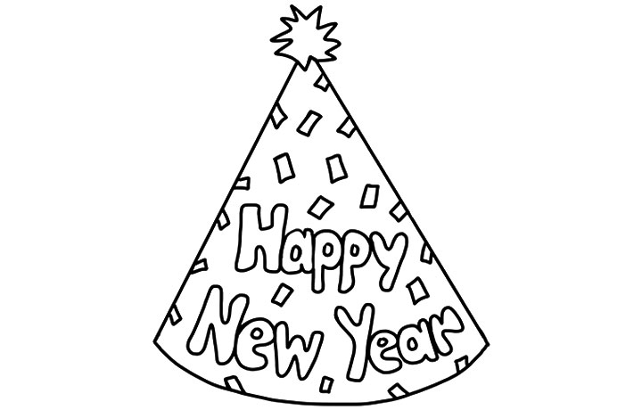 720x460 Happy New Year Hat Coloring Pages