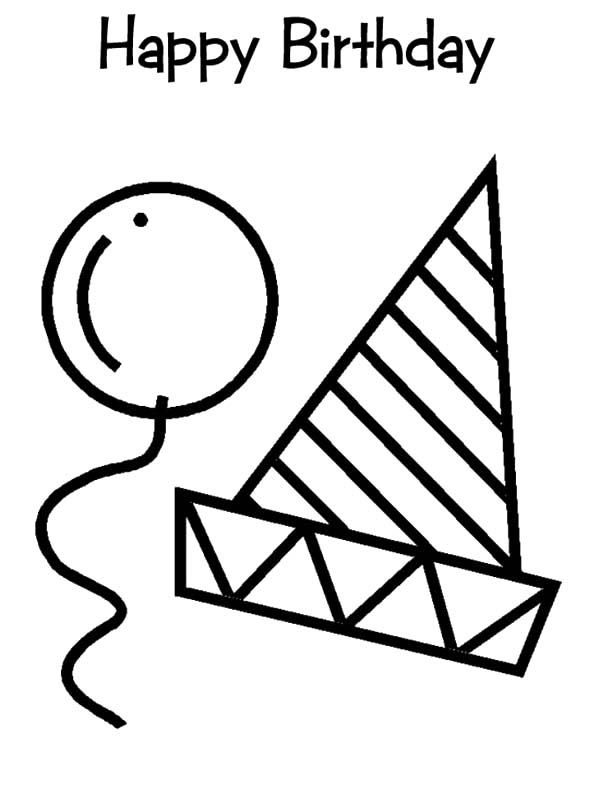 600x791 Birthday Hat And Balloons Coloring Pages Best Place To Color