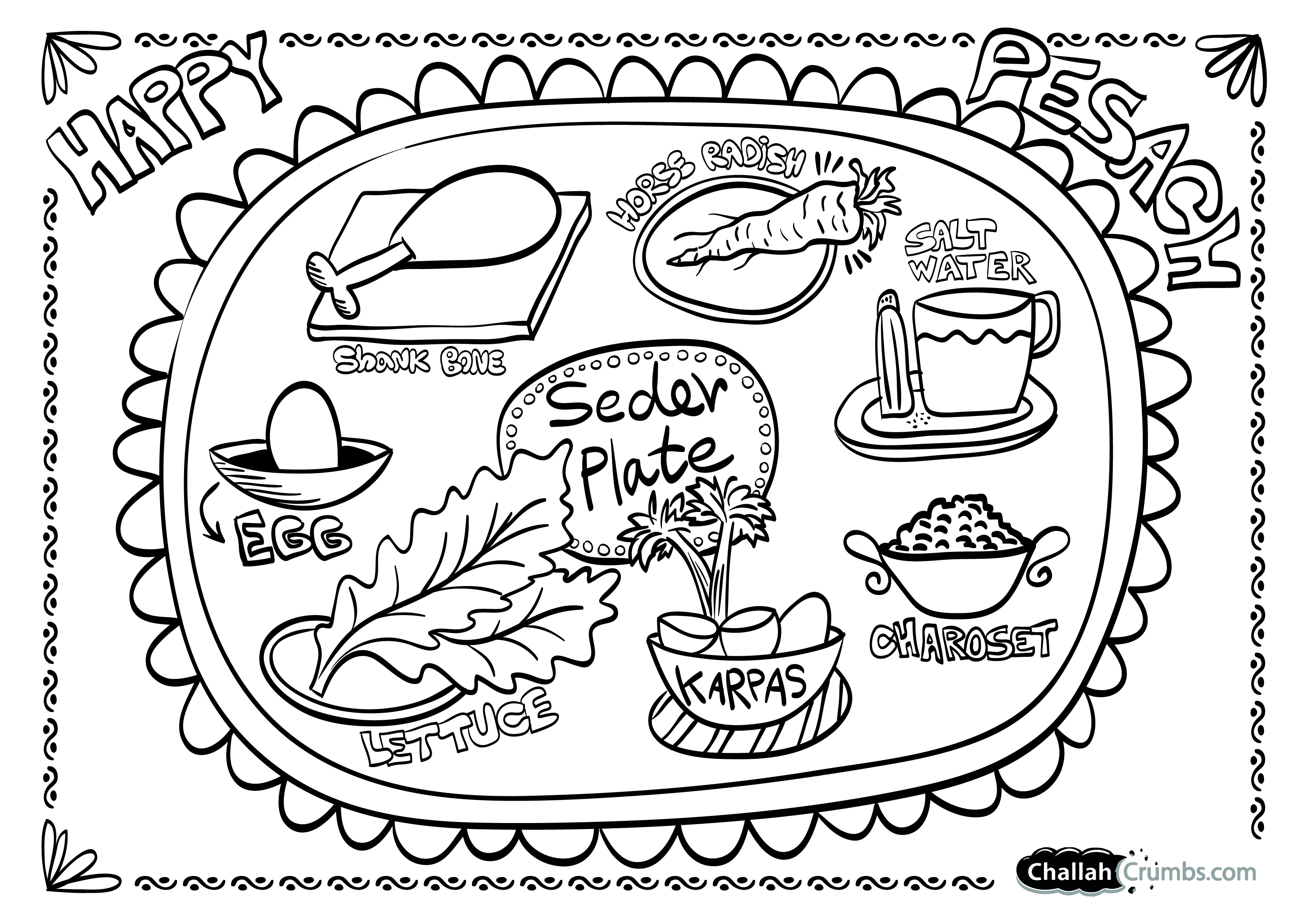 3508x2480 Coloring Page Seder Plate Challah Crumbs Passover Coloring Pages