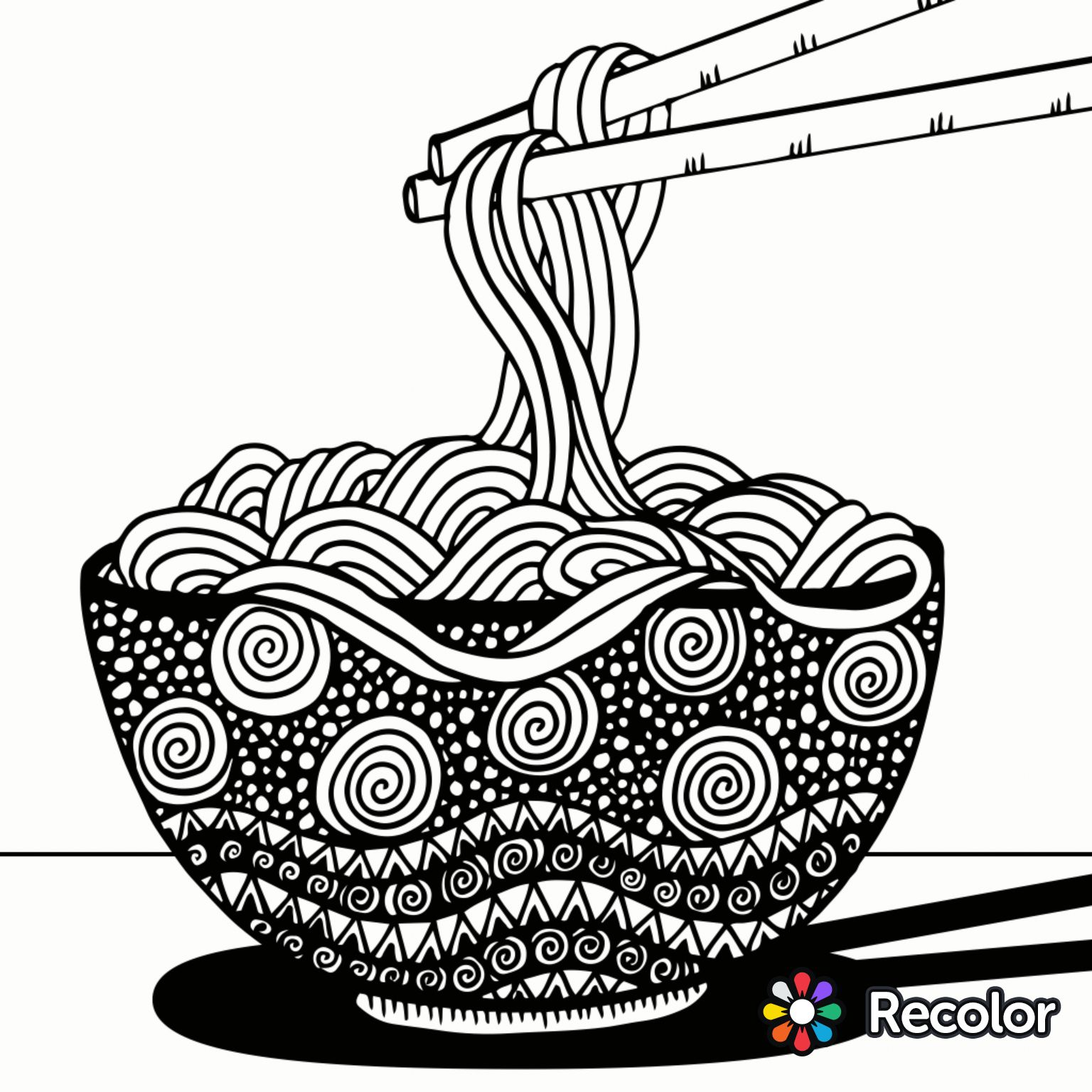 1536x1536 Noodles To Color Recolor App Coloring Pages For Adults