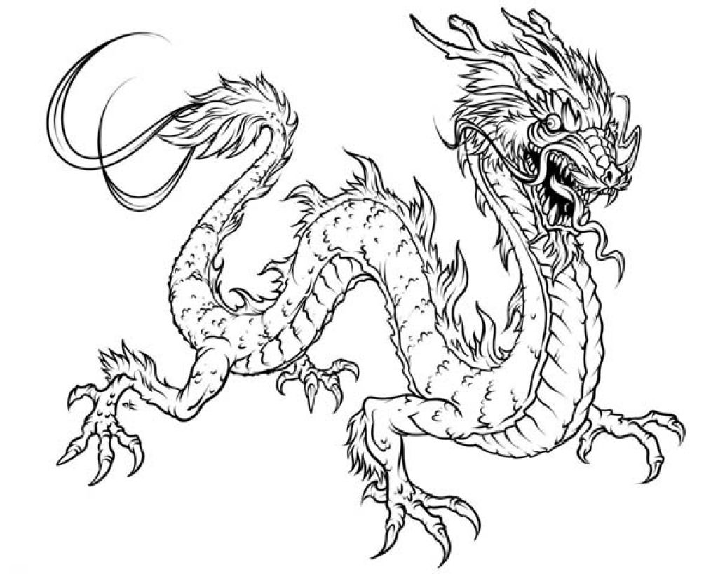 1024x819 Chinese Dragon Coloring Pages Getcoloringpages With Regard