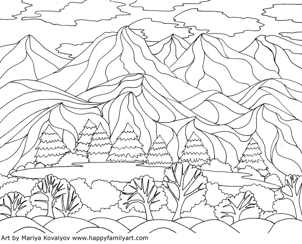 1024x827 Coloring Pages Georgia O'keeffe Inspired Landscape Coloring
