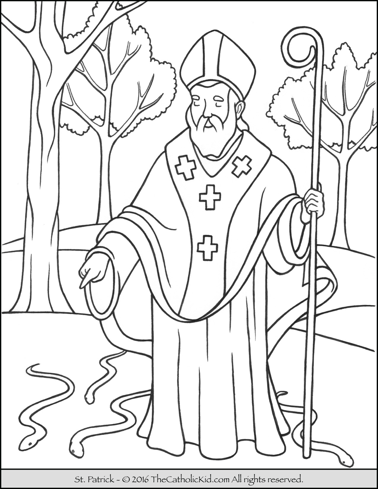 1275x1650 Saint Patrick Coloring Page