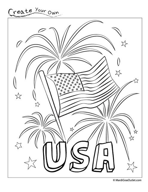 495x640 Happy Fourth Usa Fireworks Coloring Page Free Printable Free