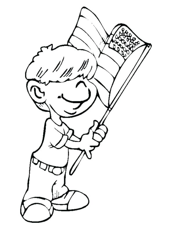 600x777 Patriot Day Coloring Pages Little Boy Waving Us Flag The Patriot