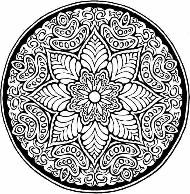 650x662 Detailed Flower Pattern Coloring Pages World Of Example