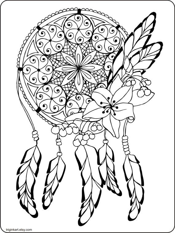 570x759 Dream Catcher Adult Coloring Page Dream Catchers, Adult Coloring