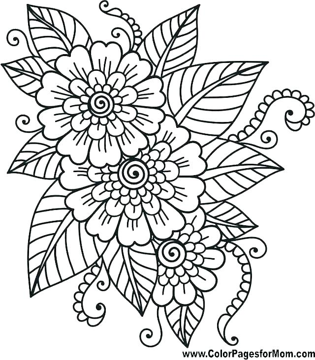 640x732 Flower Pot Coloring Page Coloring Page Of A Flower Flower Pattern
