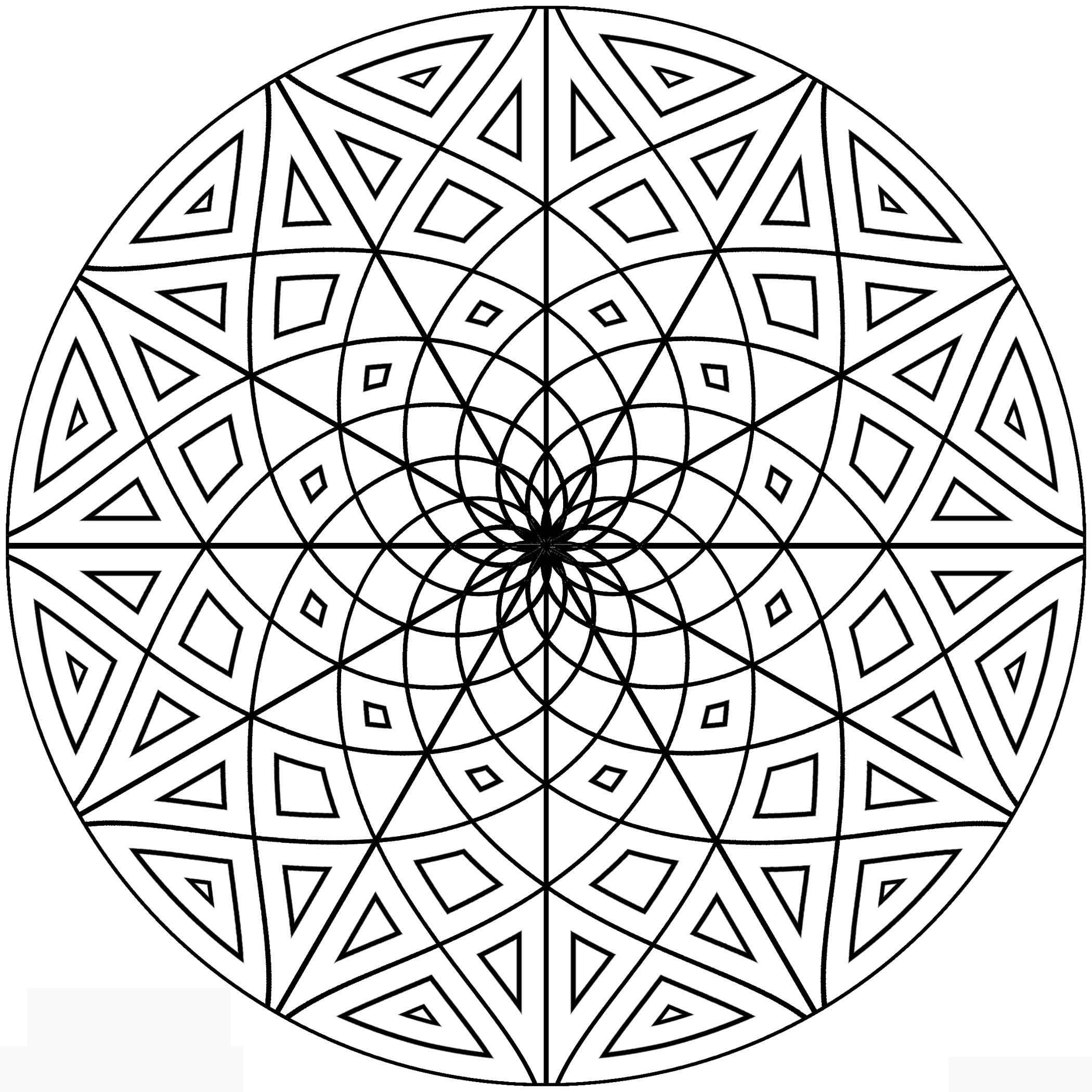 2100x2100 Free Geometric Pattern Colouring Pages