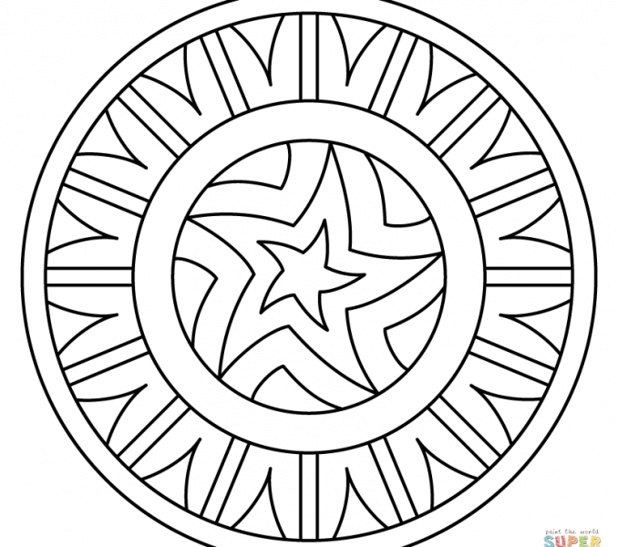 678x600 Coloring Pages Of Patterns Mandala With Star Pattern Coloring Page