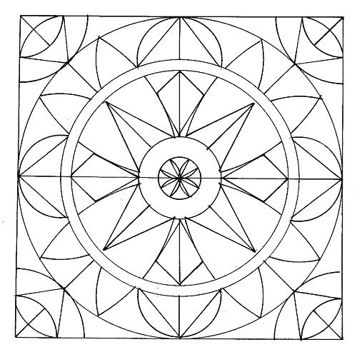 500x493 Simple Geometric Pattern Coloring Pages