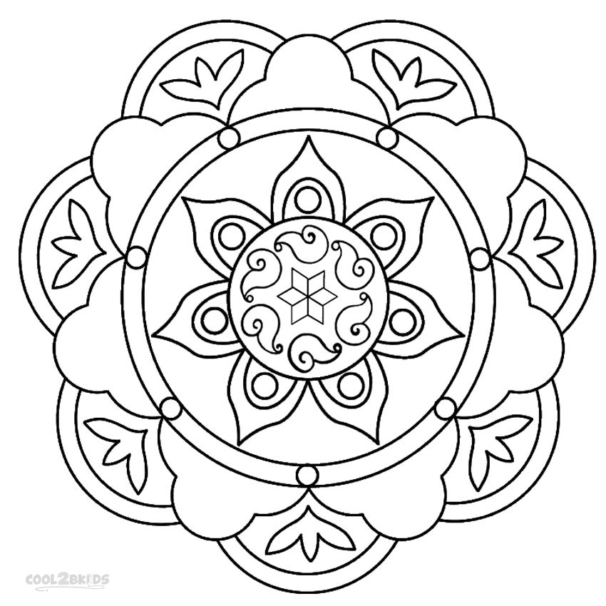 850x850 Printable Rangoli Coloring Pages For Kids