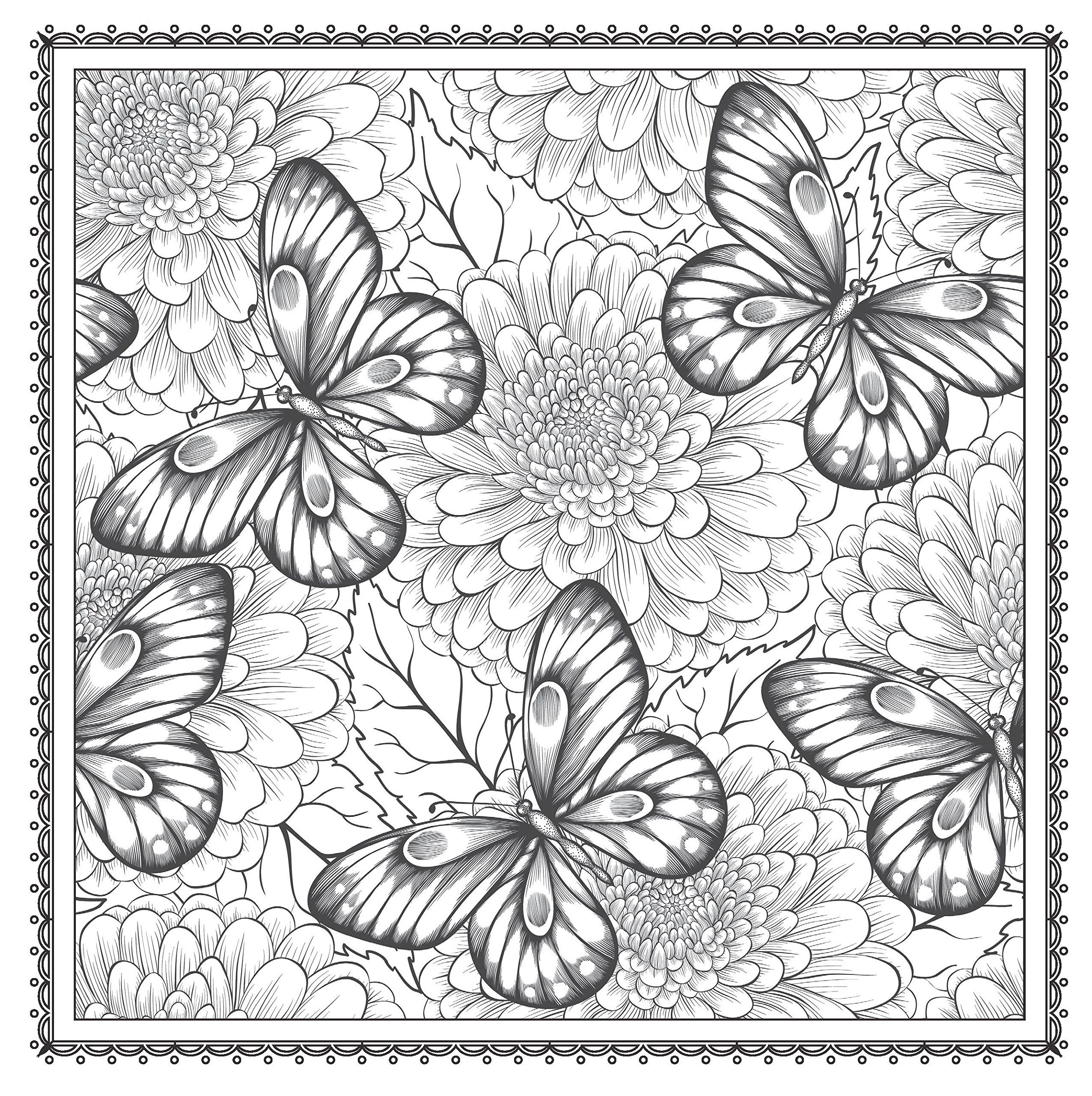 2551x2560 Amazon Blossom Magic Beautiful Floral Patterns Coloring Book