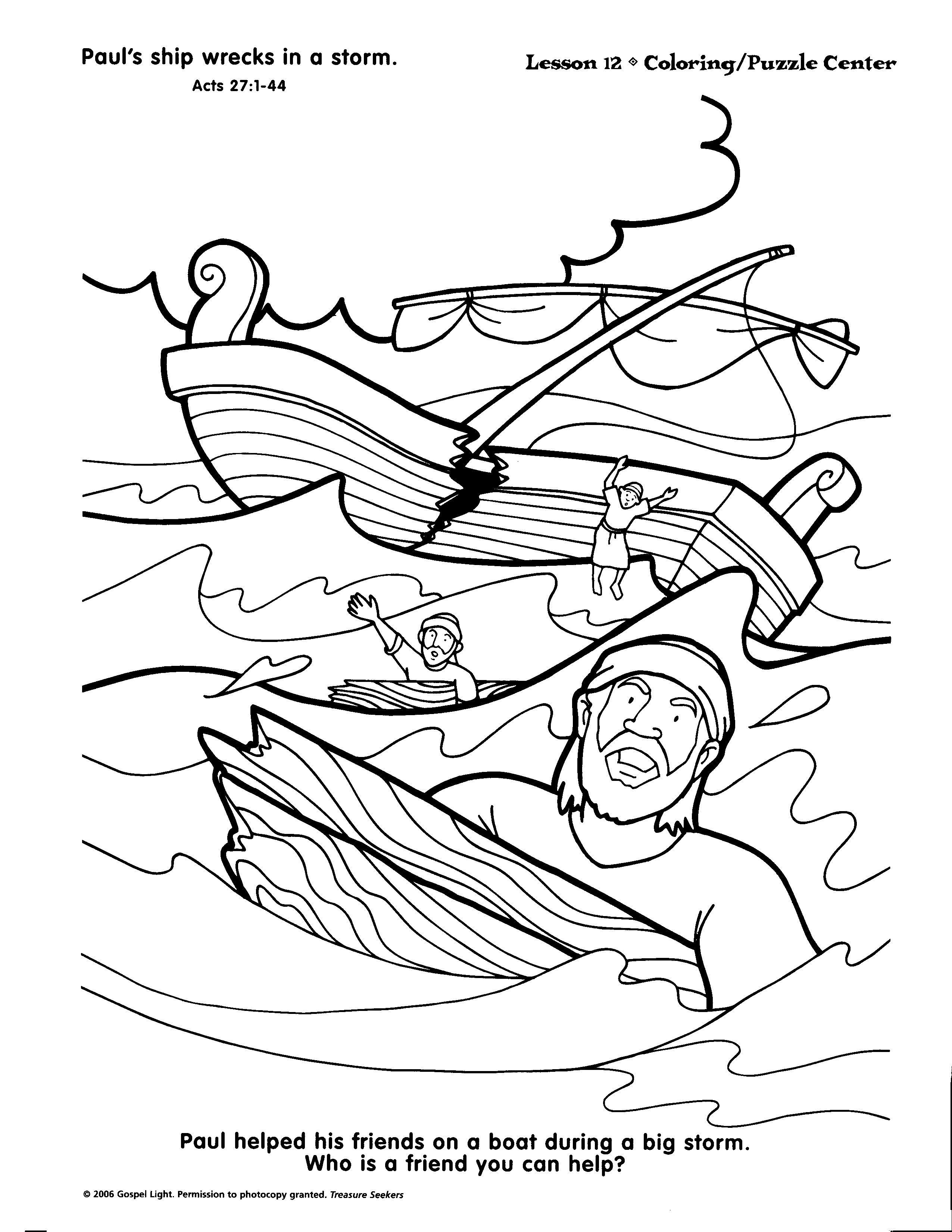 2551x3299 Daring Apostle Paul Shipwrecked Coloring Page And Barnabas
