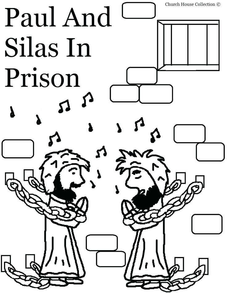 736x952 Bible Coloring Pages Paul And Silas Page Story For In Prison Free