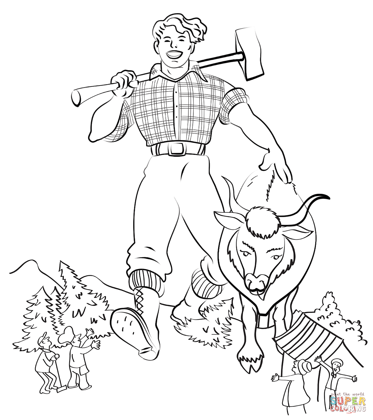 1200x1349 Revolutionary Paul Bunyan And Babe Coloring Pa