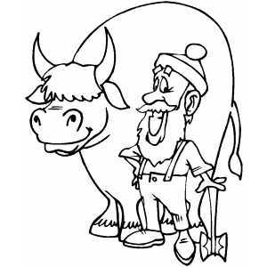 300x300 Paul Bunyan And Babe Coloring Page