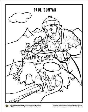 365x465 Paul Bunyan Coloring Page Tall Tales Paul Bunyan