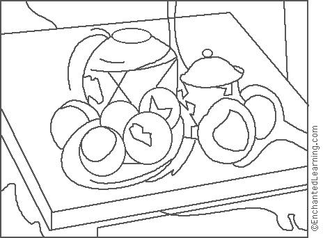 464x342 Paul Cezanne Ginger Jar Coloring Page