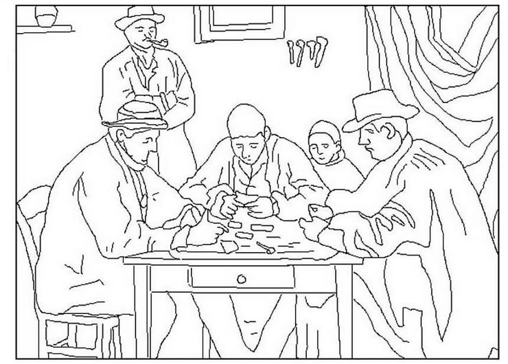 740x530 Cezanne Famous Paintings Coloring Pages