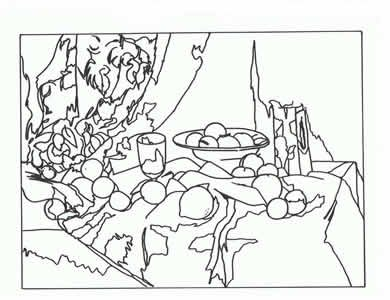 390x300 Famous Art Works Colouring Sheets