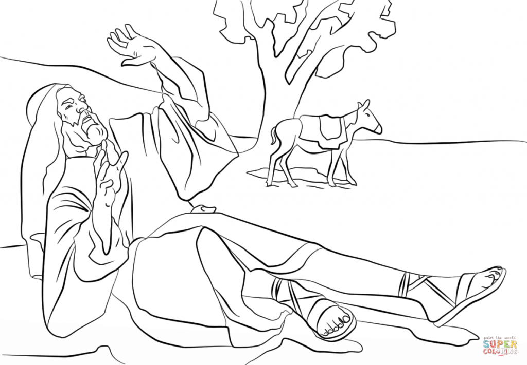 1024x711 Paul On The Road To Damascus Coloring Page
