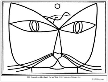 350x268 Klee, Paul Cat And Bird Coloring Page And Lesson Plan Ideas