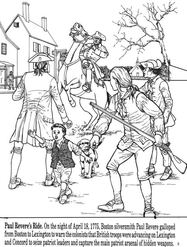 605x799 All Things John Adams Coloring Pages Paul Revere's Ride