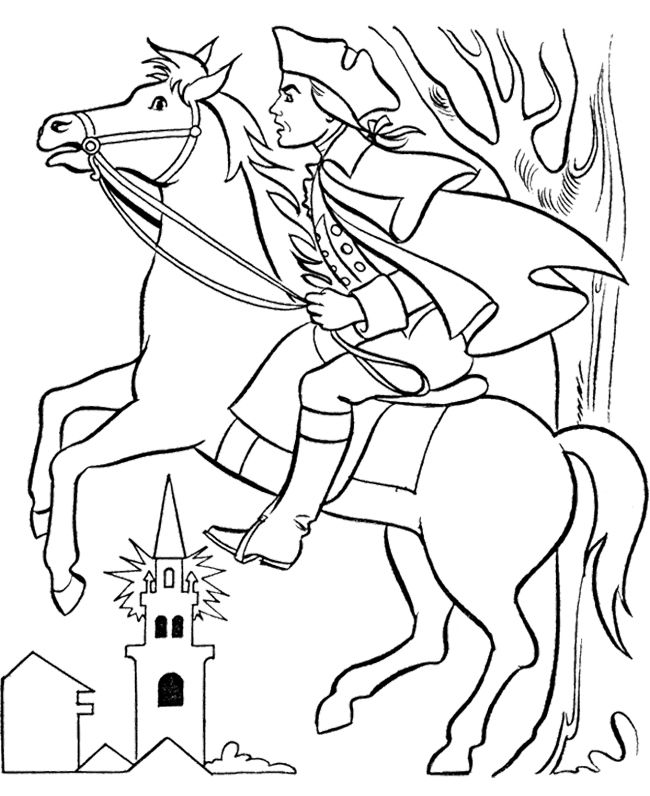 650x796 Paul Revere With Horse Coloring Page Kids Coloring Pages
