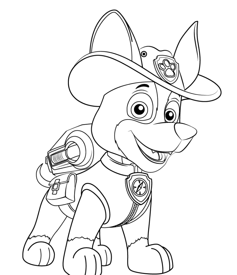 820x950 Paw Patrol New Pup Tracker Coloring Page Paw Patrol