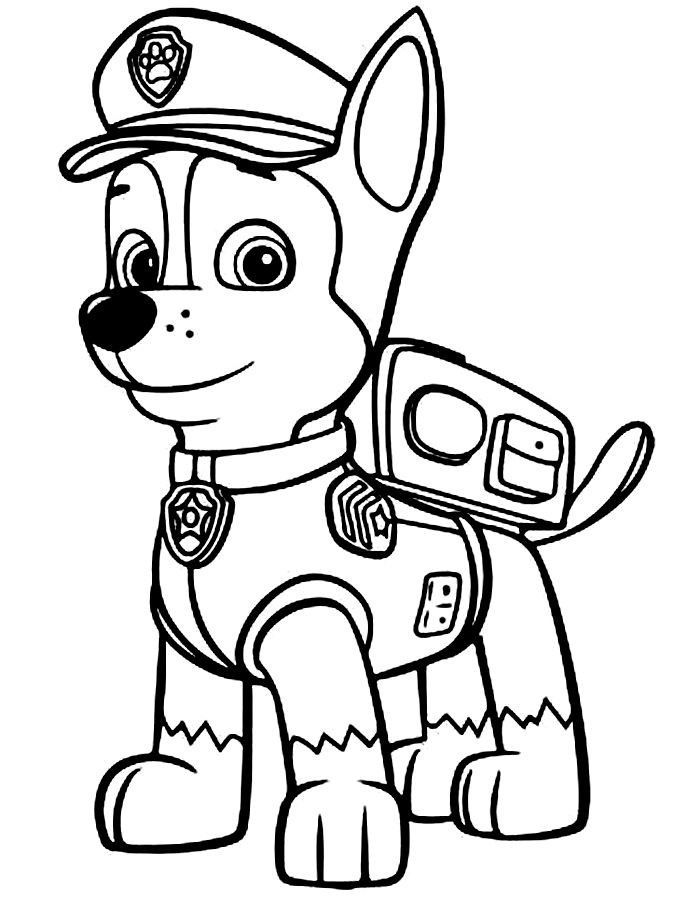 687x900 Paw Patrol Coloring Pages Chase Coloring Pages For Kids