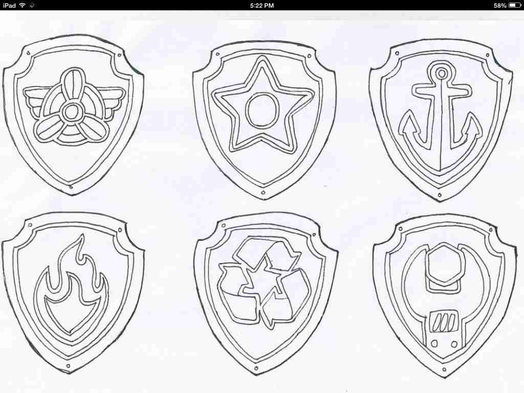 1024x768 Paw Patrol Badge Coloring Pages