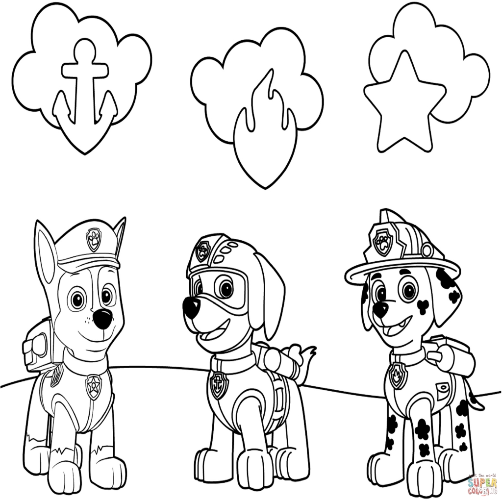 1024x1024 Paw Patrol Badges Coloring Page Free Printable Coloring Pages