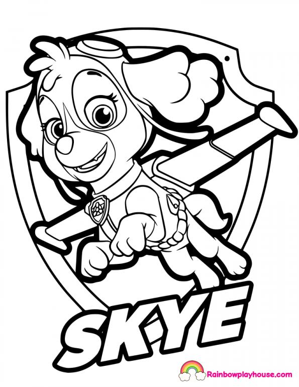 595x770 Skye Paw Patrol Badge Coloring Page