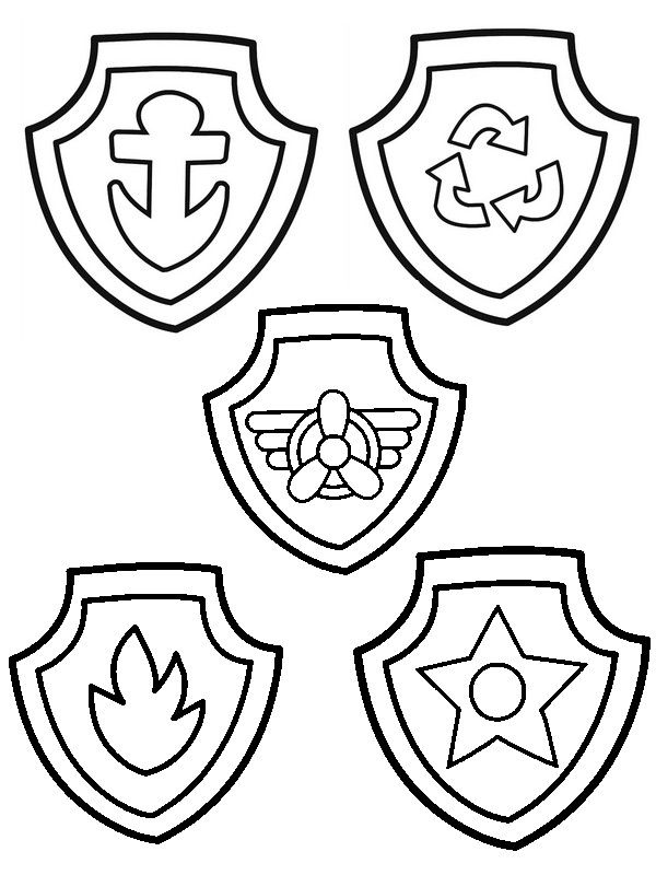 600x800 Badges Of Paw Patrol Coloring Pages Paw Paw Patrol