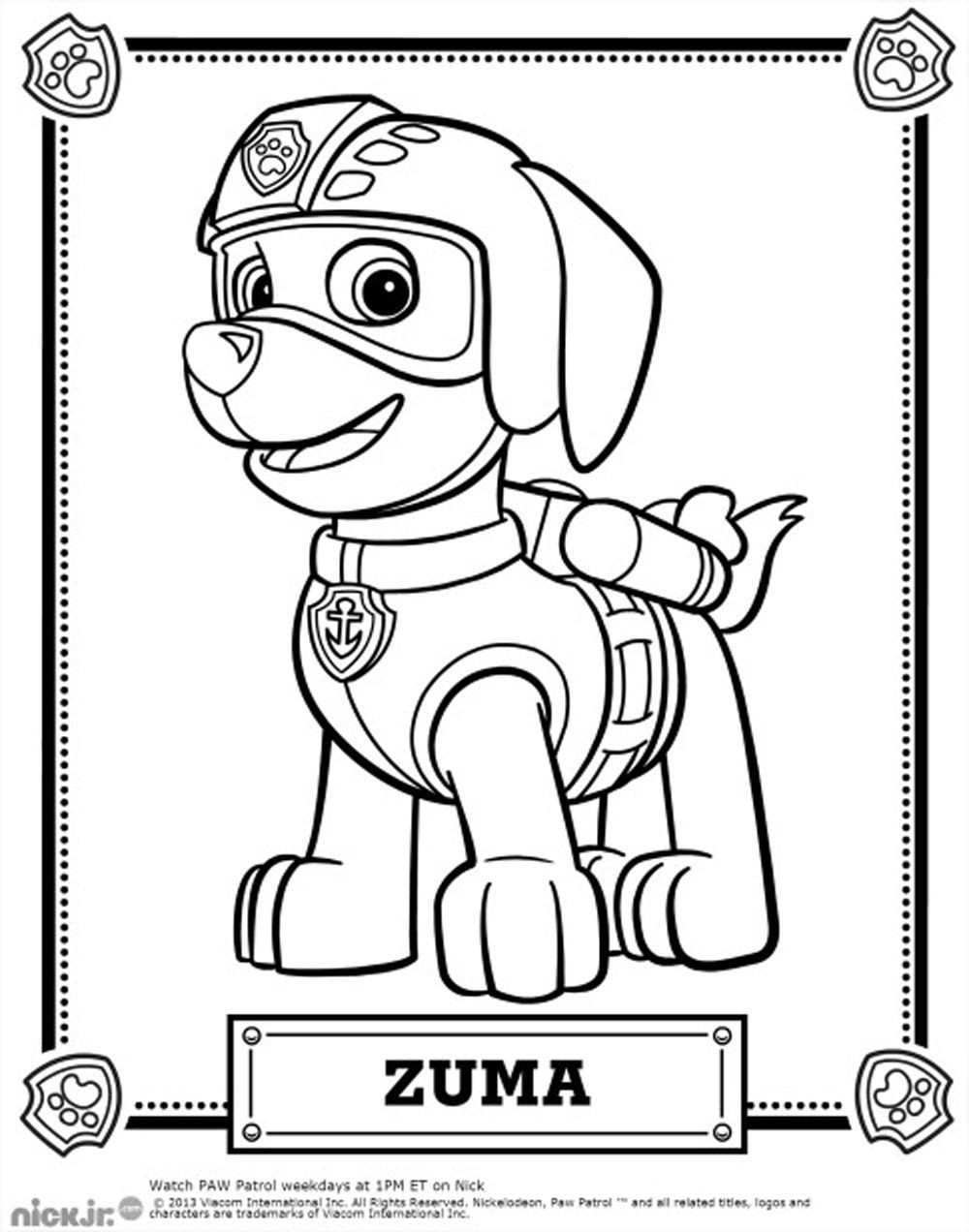 1000x1272 Paw Patrol Characters Coloring Pages