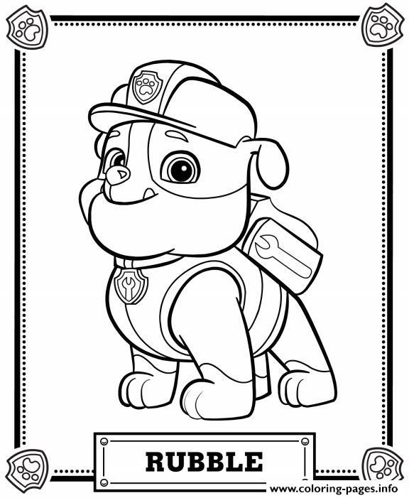 576x701 Print Paw Patrol Rubble Coloring Pages Brandon's Birthday