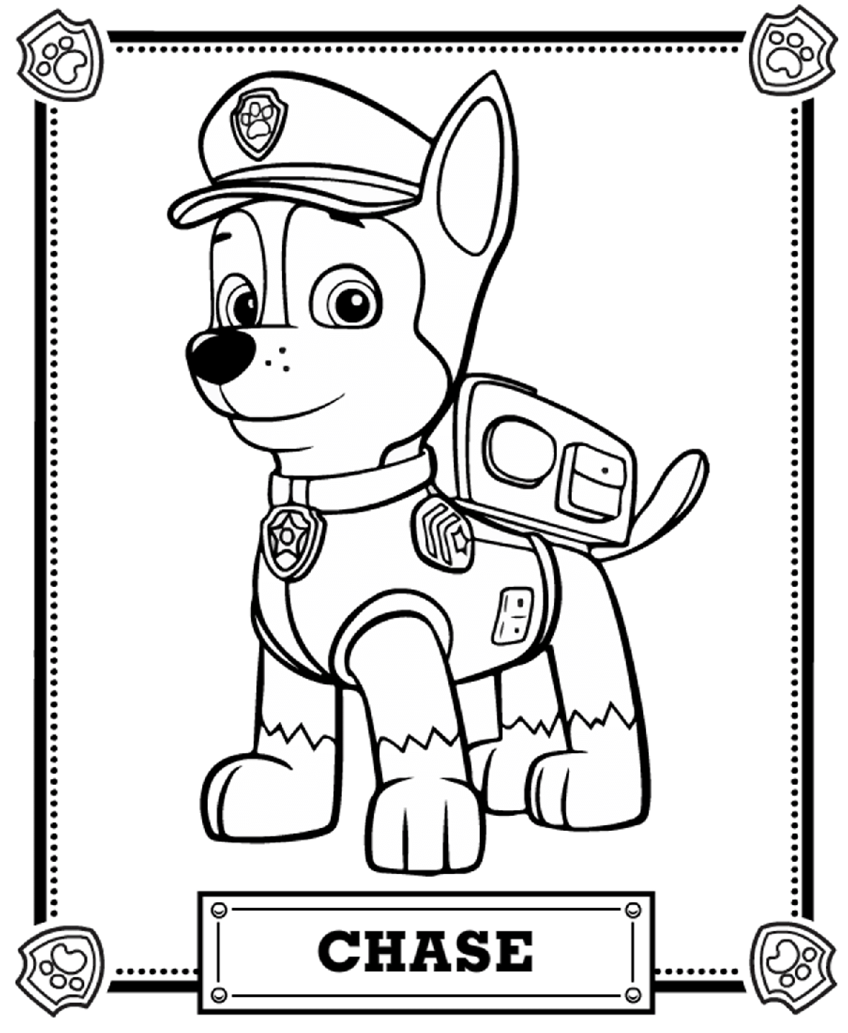 1200x1461 Chase Portrait Free Coloring Page Animals, Kids, Paw Patrol