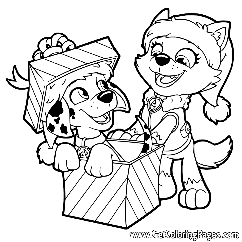 1024x1024 Paw Patrol Christmas Gifts Coloring Pages