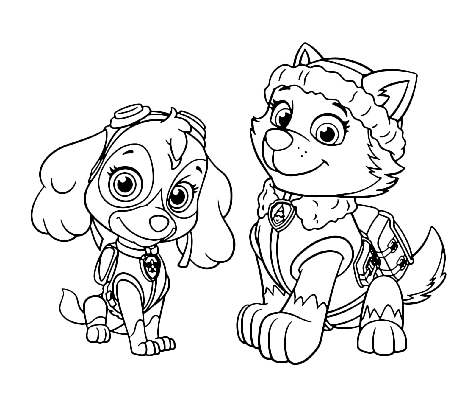 1600x1366 Cartoons Everest And Rocky Paw Patrol Coloring Pages For Kids