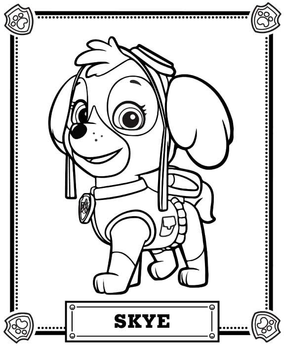 575x707 Paw Patrol Coloring Pages Skye Paw Patrol Coloring Pa Years