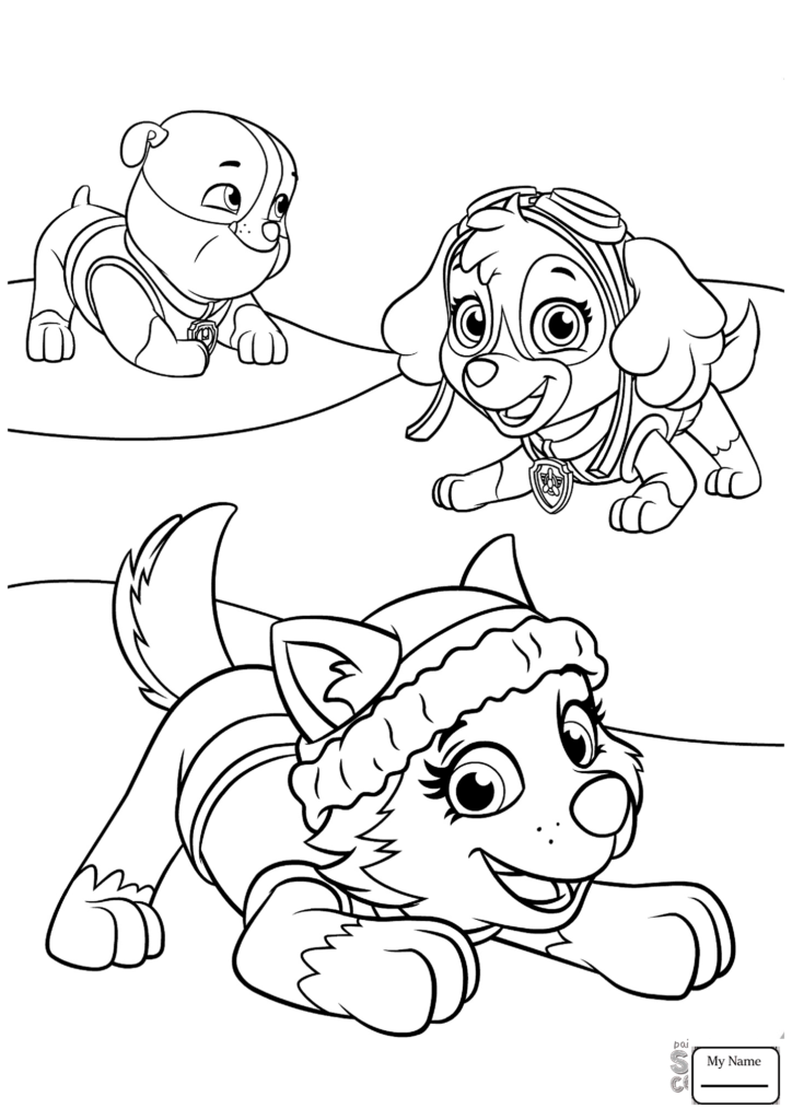 724x1024 Cartoons Everest Plays With Skye And Rubble Paw Patrol Coloring