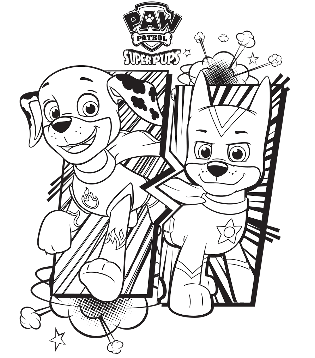 1096x1246 Paw Patrol Super Pups Chase And Marshall Colouring Page Coloring