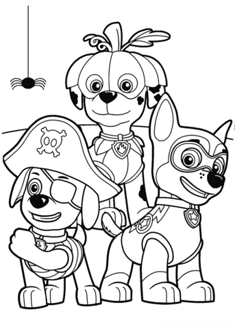 343x480 Paw Patrol Halloween Party Coloring Page