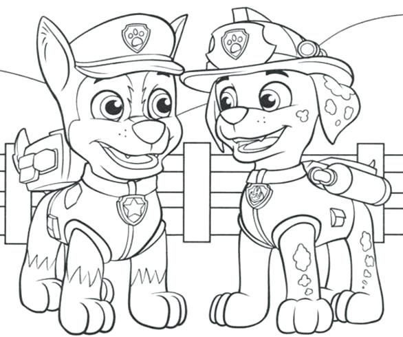 586x490 Paw Patrol Talking With Chase Coloring Page Free Pages Online